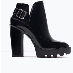 Zara black platform ankle boots size 40